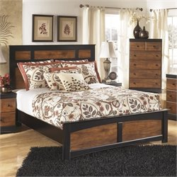 Aimwell Wood Panel Bed in Brown