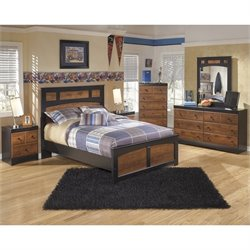 Aimwell Wood Panel Bedroom Set in Brown