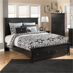 Ashley Maribel Wood Queen Panel Storage Bed in Black