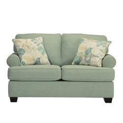 Ashley Daystar Fabric Loveseat with Cushions in Seafoam