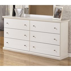 Ashley Bostwick Shoals 6 Drawer Wood Double Dresser in White