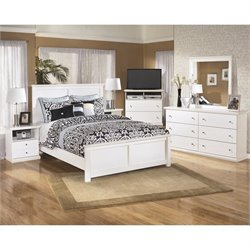 Bostwick Shoals 6 Piece Wood Media Bedroom Set in White