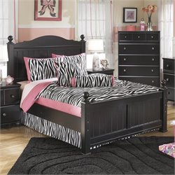 Jaidyn Wood Poster Panel Bed in Black