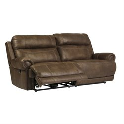 Austere 2 Seat Faux Leather Reclining Sofa in Brown