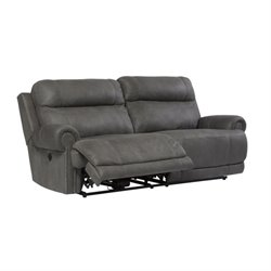 Austere 2 Seat Faux Leather Reclining Power Sofa in Gray