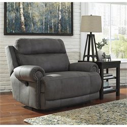 Austere Faux Leather Zero Wall Recliner in Gray