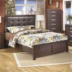 Ashley Aleydis Upholstered Queen Panel Bed in Brown