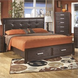 Aleydis Upholstered Panel Drawer Bed in Brown