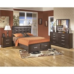 Ashley Aleydis 4 Piece Queen Panel Bedroom Set in Brown