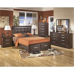 Aleydis 6 Piece Panel Drawer Bedroom Set in Brown