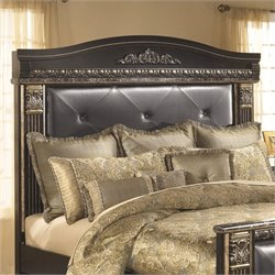 Coal Creek Upholstered Panel Headboard in Dark Brown