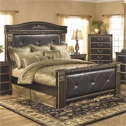Coal Creek Upholstered Panel Bed in Dark Brown