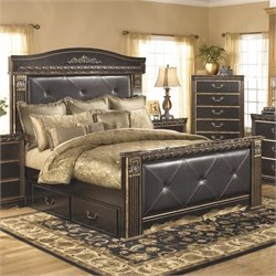 Coal Creek Upholstered Panel Drawer Bed in Dark Brown
