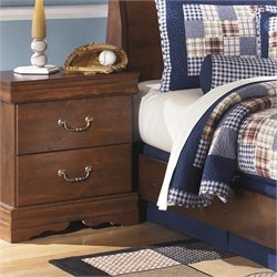 Ashley Wilmington 2 Drawer Wood Nightstand in Brown