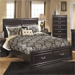 Ashley Esmarelda Wood Queen Panel Drawer Bed in Merlot