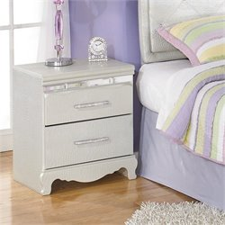 Ashley Zarollina 2 Drawer Faux Croc Leather Nightstand in Silver