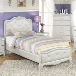 Zarollina Faux Croc Leather Upholstered Bed in Silver