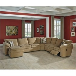 Coats 5 Piece Chaise Fabric Sleeper Sectional in Dune