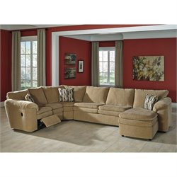 Coats 4 Piece Chaise Fabric Sleeper Sectional in Dune