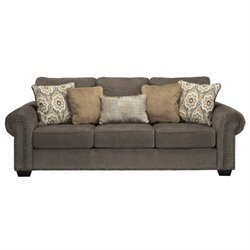 Ashley Emelen Chenille Queen Size Sleeper Sofa in Alloy
