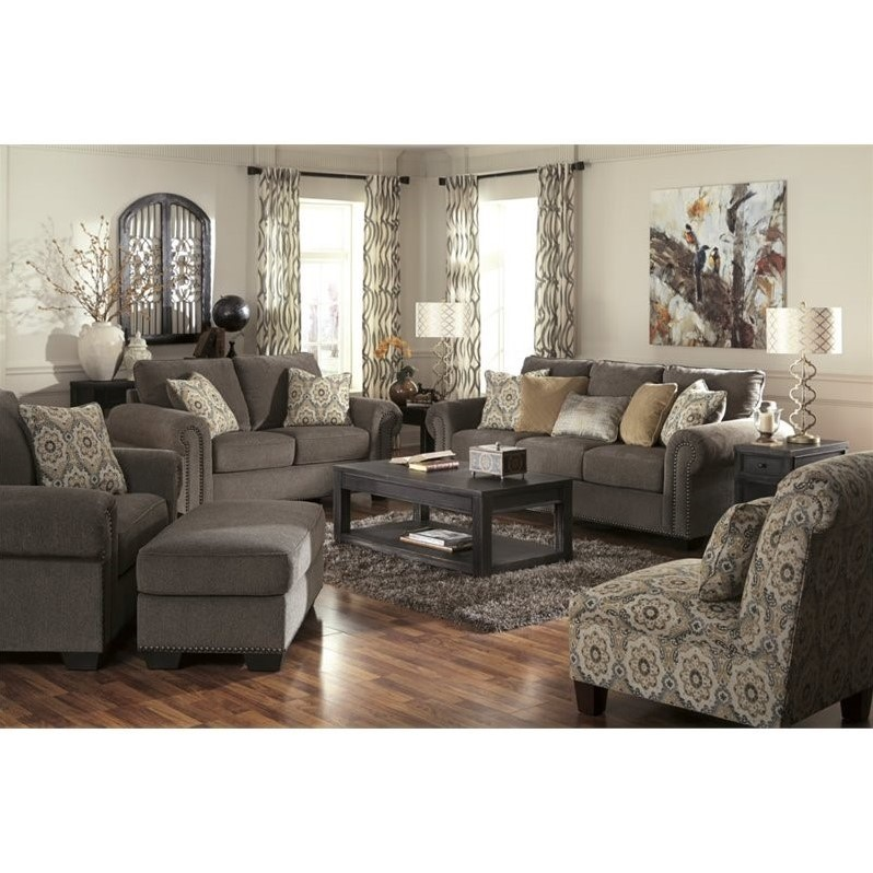 Ashley emelen 5 piece chenille sofa set in straw 45600 for Living room 5 piece sets