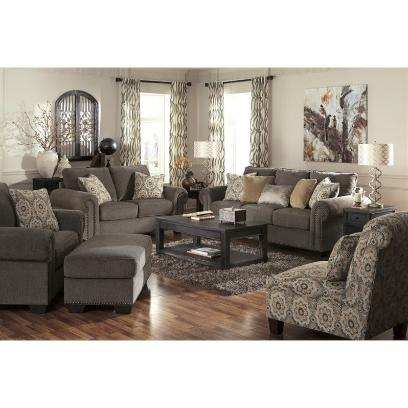 Ashley emelen 5 piece chenille sofa set in straw 45600 for 5 piece living room furniture
