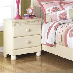 Ashley Cottage Retreat 2 Drawer Wood Nightstand in Cream