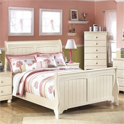 Ashley Cottage Retreat Wood Sleigh Bed in Cream