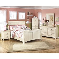 Ashley Cottage Retreat 6 Piece Wood Sleigh Bedroom Set in Cream