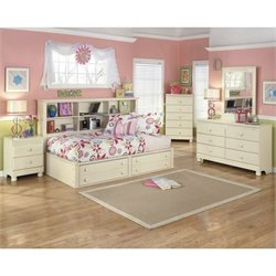 Ashley Cottage Retreat 5 Piece Wood Bookcase Bedroom Set in Cream