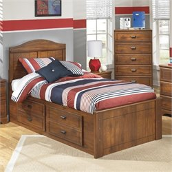 Barchan Wood Twin Panel Drawer Bed in Brown