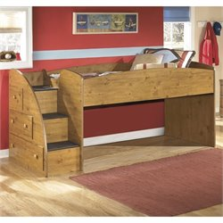 Stages 3 Drawer Wood Twin Loft Bed in Brown