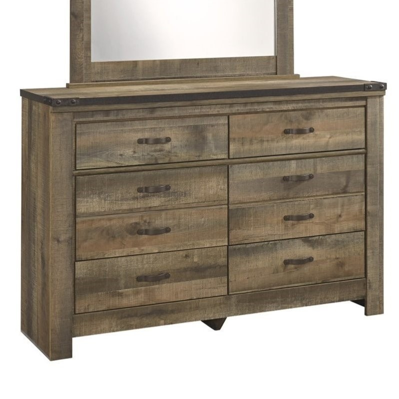 Ashley Trinell 6 Drawer Wood Double Dresser in Brown