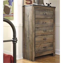 Ashley Trinell 5 Drawer Wood Chest in Brown