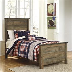 Trinell Wood Panel Bed in Brown