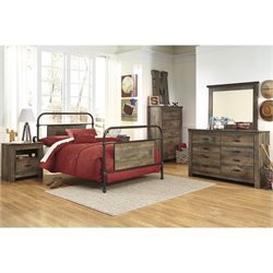 Ashley Trinell 6 Piece Metal Bedroom Set in Brown