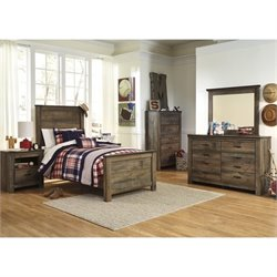 Ashley Trinell Wood Twin Panel Bedroom Set in Brown