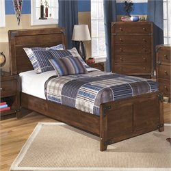 Delburne Wood Panel Bed in Brown