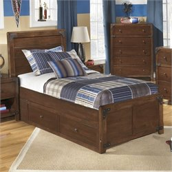 Delburne Wood Panel Drawer Bed in Brown