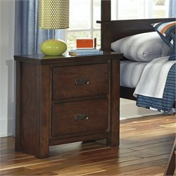 Ashley Ladiville 2 Drawer Wood Nightstand in Rustic Brown