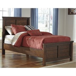 Ladiville Wood Panel Bed in Rustic Brown