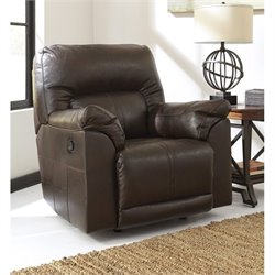 Barrettsville Leather Rocker Recliner in Chocolate