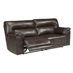 Barrettsville 2 Seat Leather Reclining Sofa in Chocolate