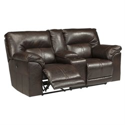 Barrettsville Leather Reclining Console Loveseat in Chocolate