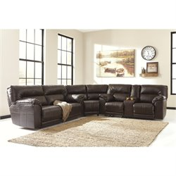 Barrettsville 3 Piece Leather Reclining Sectional in Chocolate