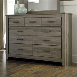 Ashley Zelen 7 Drawer Wood Double Dresser in Brown