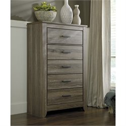 Ashley Zelen 5 Drawer Wood Chest in Brown