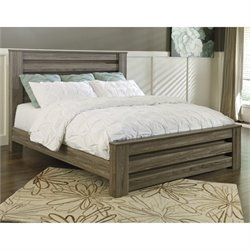 Zelen Wood Rail Panel Bed in Brown