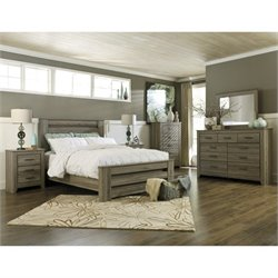 Zelen 6 Piece Wood Rail Panel Bedroom Set in Brown