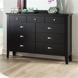 Ashley Braflin 9 Drawer Wood Double Dresser in Black